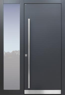 Haustür modern, grau, Seitenteil, TOPICcore, Sicherheitstür, passivhaustauglich, besser als alu, Glas