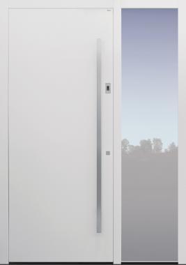 Haustür weiß mit Fingerprint mit Seitenteil B1 Modell B9-T2