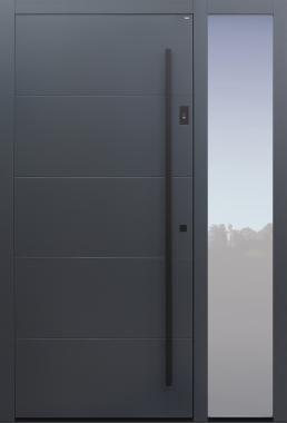 Haustür anthrazit mit Option Spurfräsungen und Fingerprint mit Seitenteil B1 Modell B9-T2