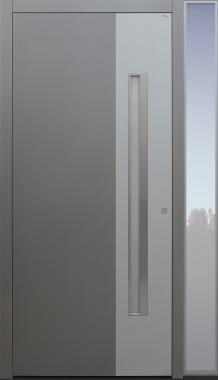 Haustür grau  mit Schalengriff und 2. Farbe auf Kundenwunsch mit Seitenteil BG11 Modell B9-T2