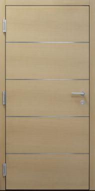 Haustür modern, Holz, Eiche, Edelstahl, Sicherheitstür, passivhaustauglich, besser als Alu