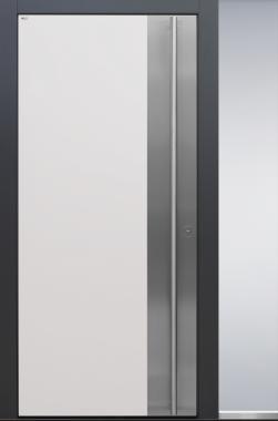 Haustür modern, weiß, anthrazit, TOPICcore, Edelstahl, Sicherheitstür, passivhaustauglich, besser als alu, Seitenteil, Glas