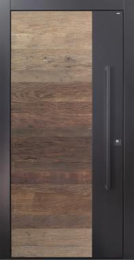 Haustür modern, anthrazit, Holz, Altholz, Eiche, über 500 Jahre, Stoßgriff in schwarz, Sicherheitstür, passivhaustauglich, TOPICcore, besser als Alu