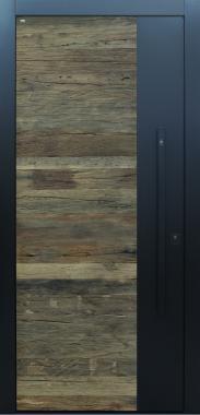 Haustür modern, anthrazit, Holz, Altholz, Eiche, über 300 Jahre, Sicherheitstür, passivhaustauglich, TOPICcore, besser als Alu, Stoßgriff schwarz