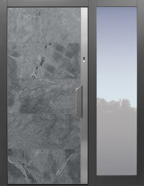 Haustüren modern, grau, Himalayastein, Fingerprint, Sicherheitstür, passivhaustauglich, TOPICcore, besser als Alu, Glas, Seitenteil