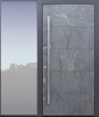 Haustür modern, Himalayastein, grau, TOPICcore, mit Seitenteil, Sicherheitstür, passivhaustauglich, besser als Alu, Glas