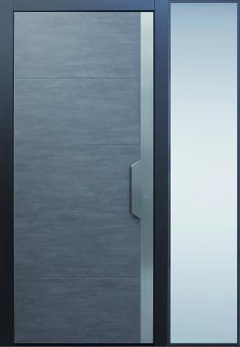 Haustür modern, grau, anthrazit, Keramik, Sicherheitstür, passivhaustauglich, besser als alu, Seitenteil, Glas