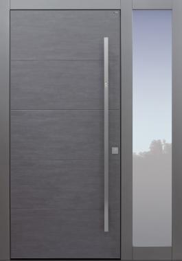 Haustür modern, TOPICcore, Keramik, dunkelgrau, Sicherheitstür, passivhaustauglich, besser als Alu, Glas, Seitenteil, Fingerprint