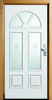 Haustür classic, Eiche und weiß, Glas, Glasmotiv