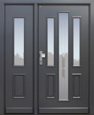 Haustür Landhaus klassisch rustikal, anthrazit, Topiccore, Seitenteil, Sicherheitstür, passivhaustauglich, besser als alu, Glas