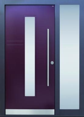 Haustüren, modern, lila, TOPICcore, Holz, Edelstahl, Sicherheitstür, passivhaustauglich, besser als alu, Glas