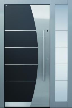Haustür modern, weiß, anthrazit, grau, TOPICcore, Edelstahl, Sicherheitstür, passivhaustauglich, besser als alu, Seitenteil, Glas