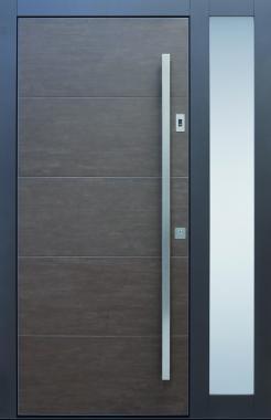 Haustür modern, anthrazit, braun, Keramik, Sicherheitstür, passivhaustauglich, TOPICcore, besser als Alu, Glas, Seitenteil, Fingerprint