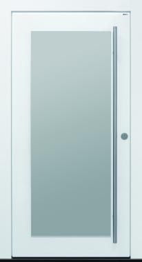 Haustür Glas, modern, weiß, Edelstahl, Sicherheitstür, passivhaustauglich