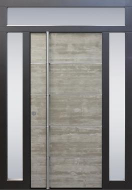 Haustür modern, Beton, Topiccore, Edelstahl, Seitenteile, Oberlichte, Sicherheitstür, passivhaustauglich, besser als Alu, Glas