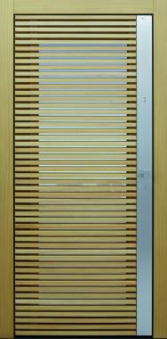 Haustür modern, Holz, Lärche, Fingerprint, Edelstahl, Sicherheitstür, passivhaustauglich, besser als Alu, Glas