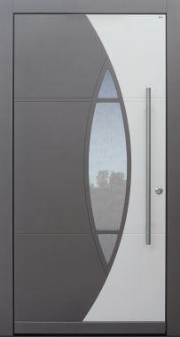 Haustür modern, grau, weiß Topiccore, Sicherheitstür, passivhaustauglich, besser als alu, Glas