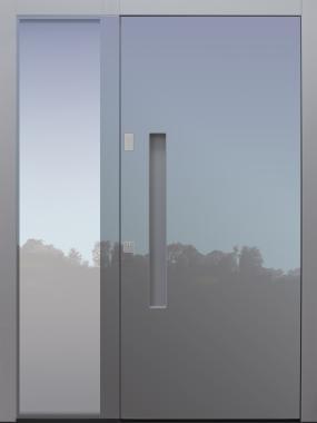 Haustür modern, grau, Schalengriff, Keypad, TOPICcore, mit Seitenteil, Sicherheitstür, passivhaustauglich, besser als Alu, Glas