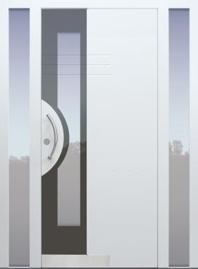 Haustür weiß mit 2 Seitenteilen B1 Modell Shadow03-T2