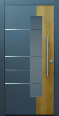 Haustür modern, grau, TOPICcore, Holz, Sicherheitstür, passivhaustauglich, besser als alu, Glas