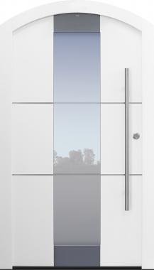 Haustür weiß mit Segmentbogen mit Edelstahllisenen Modell B11-T1