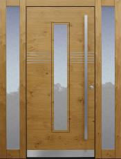 Haustür modern, Holz, Eiche, Edelstahl, Seitenteil, Sicherheitstür, passivhaustauglich, besser als Alu, Glas