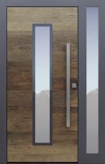 Haustür modern, Altholz, Eiche, anthrazit, TOPICcore, Seitenteil, Sicherheitstür, passivhaustauglich, besser als Alu, Glas