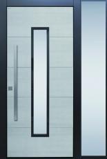 Haustür modern, grau, Keramik, Sicherheitstür, passivhaustauglich, besser als Alu, Seitenteil BG11, Glas