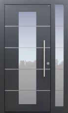 Haustür modern, TOPICcore, anthrazit, dunkelgrau, Sicherheitstür, passivhaustauglich, besser als Alu, Glas, Seitenteil, Edelstahllisenen