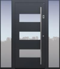 Haustür anthrazit mit Option Designpaket mit Fingerprint mit 2 Seitenteilen BG11 Modell B17-T1