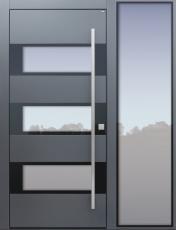 Haustür modern, TOPICcore, grau, Sicherheitstür, passivhaustauglich, besser als Alu, Glas, Seitenteil