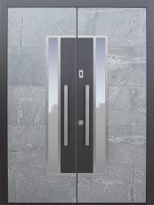 Haustür modern, Stein, anthrazit, TOPICcore, Sicherheitstür, passivhaustauglich, besser als Alu, Glas