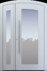 Haustür modern, hellgrau, TOPICcore, zweiflügelig, Segmentbogen, Sicherheitstür, passivhaustauglich, besser als Alu, Glas