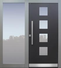 Haustür modern, anthrazit und grau, TOPICcore, Seitenteil, Sicherheitstür, besser als Alu, Glas