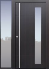 Haustür modern, Holz, Eiche, Eiche rauchig, Sicherheitstür, passivhaustauglich, besser als Alu, Glas, Seitenteil