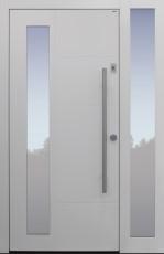 Haustür modern, TOPICcore, weiß, Sicherheitstür, passivhaustauglich, besser als Alu, Glas, Seitenteil, Fingerprint