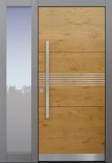Haustür modern, Holz, Eiche, grau, Fingerprint, TOPICcore, Edelstahl, Sicherheitstür, passivhaustauglich, besser als Alu, Glas