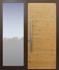 Haustür modern, Holz, Eiche, TOPICcore, mit Seitenteil, Sicherheitstür, passivhaustauglich, besser als Alu, Glas