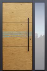 Haustür Eiche astig mit Design B902 6 mit Lisenen PVD poliert schwarz mit Stoßgriff schwarz mit Glasmotiv MS4 mit Seitenteil B1 Modell B9-T2