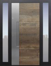 Haustür modern, Holz, Eiche, Altholz Eiche, Sicherheitstür, passivhaustauglich, besser als Alu, Glas, Seitenteile, Fingerprint
