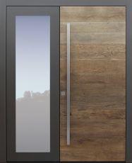 Haustür modern, Holz, Eiche, Altholz Eiche, Sicherheitstür, passivhaustauglich, besser als Alu, Glas, zweiflügelig