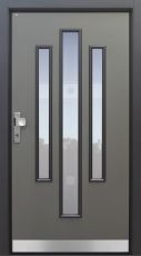 Haustür Landhaus klassisch rustikal, grau, Topiccore, Sicherheitstür, passivhaustauglich, besser als alu, Glas