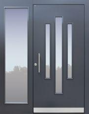 Haustür Landhaus klassisch rustikal, grau, Topiccore, Seitenteil, Sicherheitstür, passivhaustauglich, besser als alu, Glas