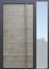 Haustür modern, anthrazit, Beton, Sicherheitstür, passivhaustauglich, besser als alu, Seitenteil, Glas