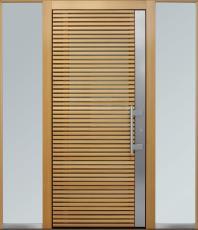 Haustür modern, Holz, Lärche, Edelstahl, Sicherheitstür, passivhaustauglich, besser als alu, Seitenteil, Glas