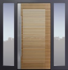 Haustür modern, Holz, Lärche, Lärche geölt, Sicherheitstür, passivhaustauglich, besser als Alu, Glas, Seitenteil