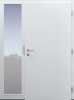 Haustür modern, innen, Holz, weiß, TOPICcore, mit Seitenteil,  Sicherheitstür, passivhaustauglich, besser als alu, Glas
