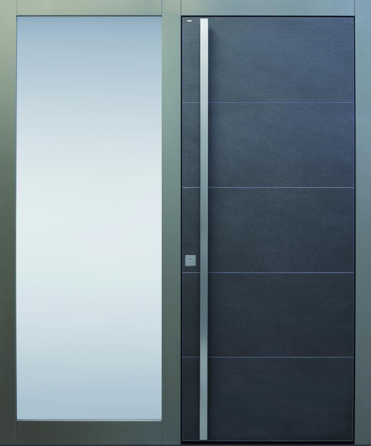 Haustür modern, anthrazit, grau, Keramik, Sicherheitstür, passivhaustauglich, TOPICcore, besser als alu, Glas, Seitenteil