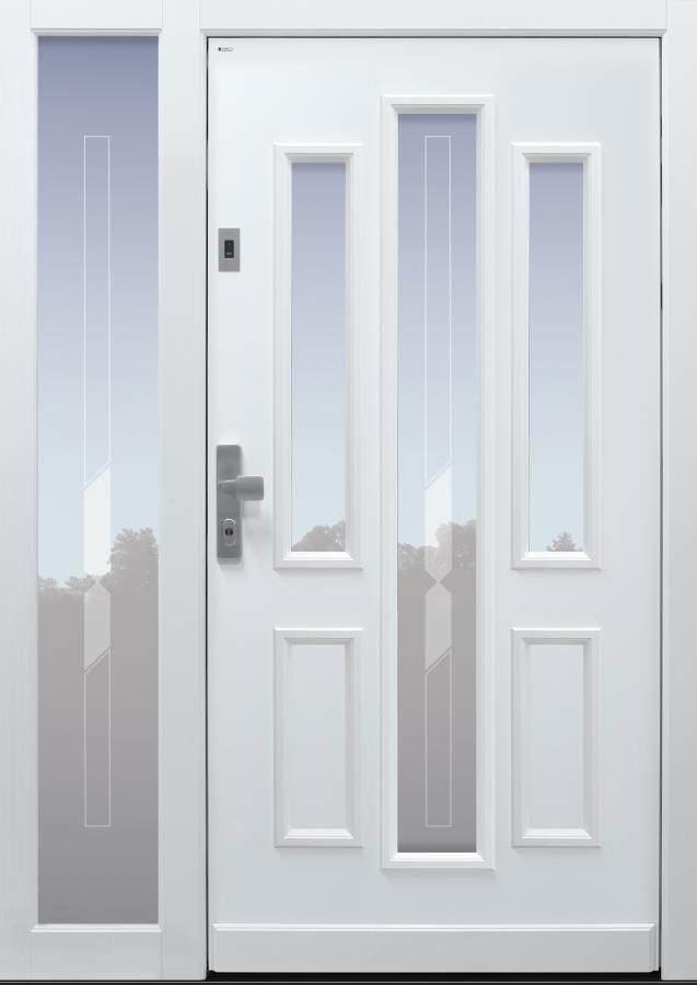 Haustür klassisch mit Option Querfries unten mit Glasmotiv MS1 mit Fingerprint mit Seitenteil B1 Modell A147-T1