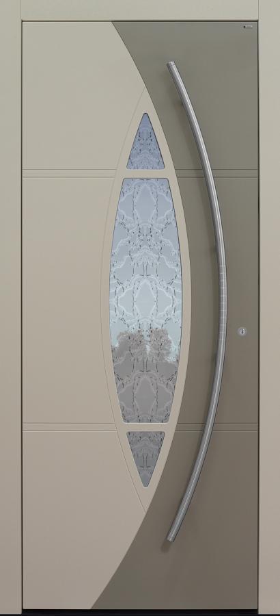 Haustür beige mit Glas Barock weiß mit Optionen 2. Farbe und Rosette flächenbündig Modell A230-T1